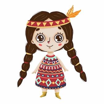 大きな目と白い背景の原始的なスタイルの羽を持つ自由奔放に生きるかわいい女の子