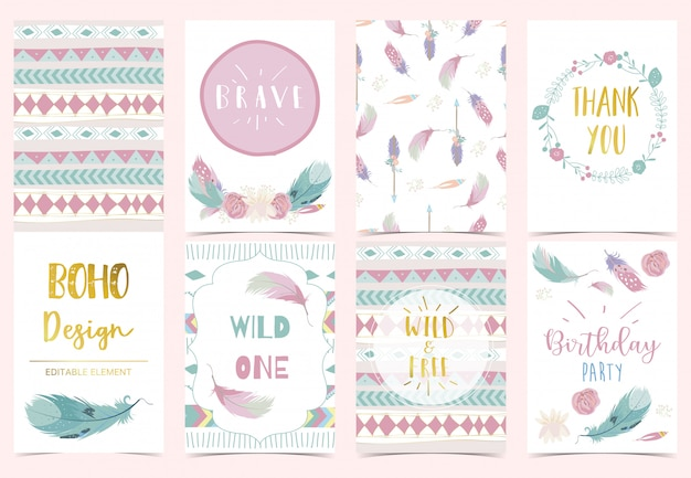 Cute boho invitation for kid