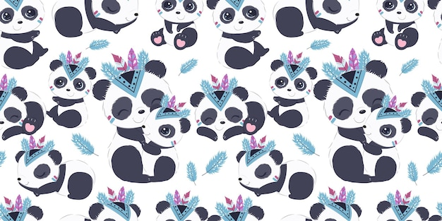 Cute boho panda pattern for children fabric wallpaper and many more