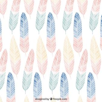 색깔의 깃털을 가진 귀여운 boho 패턴
