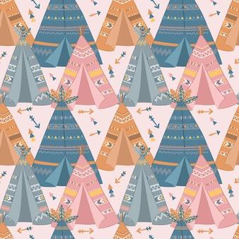 어린이 패브릭 벽지 등을 위한 귀여운 보헤미안 원활한 패턴