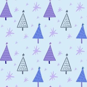귀여운 boho 겨울 시즌 휴가 미니멀한 크리스마스 트리 낙서와 유치한 원활한 패턴