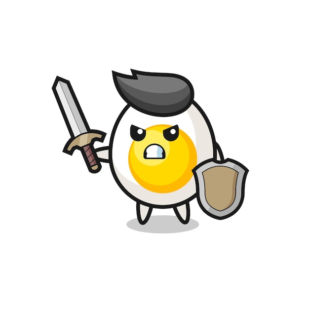 Cute boiled egg soldier fighting with sword and shield , cute style design for t shirt, sticker, logo element