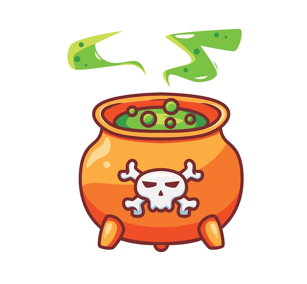 Cute boiling a poison in witch cauldron cartoon halloween event concept isolated illustration flat