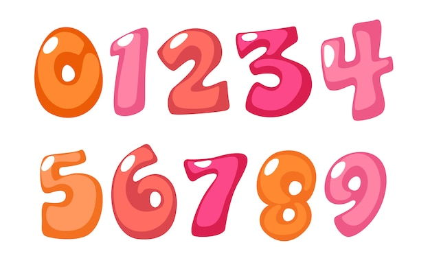Cute bold font numbers in pink color for kids