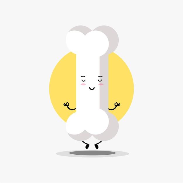 요가 포즈에서 명상하는 귀여운 뼈 캐릭터