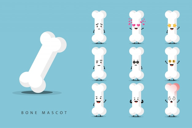 Cute bone mascot set