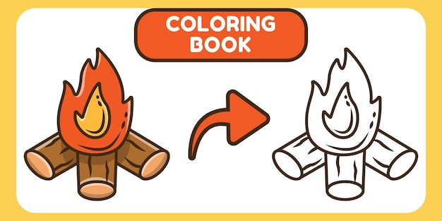 Cute bonfire hand drawn cartoon doodle coloring book for kids