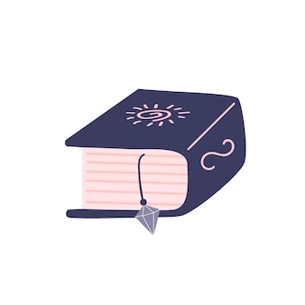 Cute book with spells on a white background. attributes for magic, witchcraft. love potion. hand drawn vector isolated single illustration.