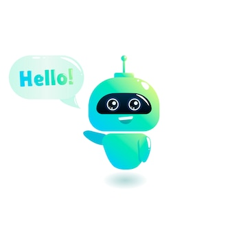 Cute bot say users hello. chatbot greets. online consultation.