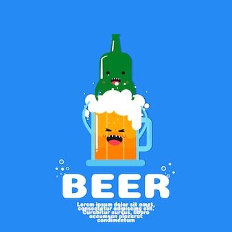 Cute bottle and beer cartoon vector. kawaii food concept.