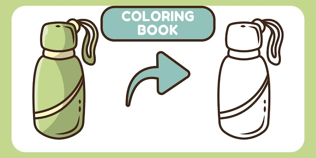 Cute bottle hand drawn cartoon doodle coloring book for kids