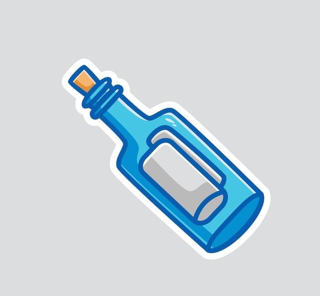 Симпатичное сообщение бутылки в океане мультяшный объект концепции изолированная иллюстрация плоский стиль