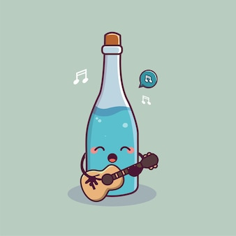 Cute bottle of water vector cartoon kawai character holding guitar and singing
