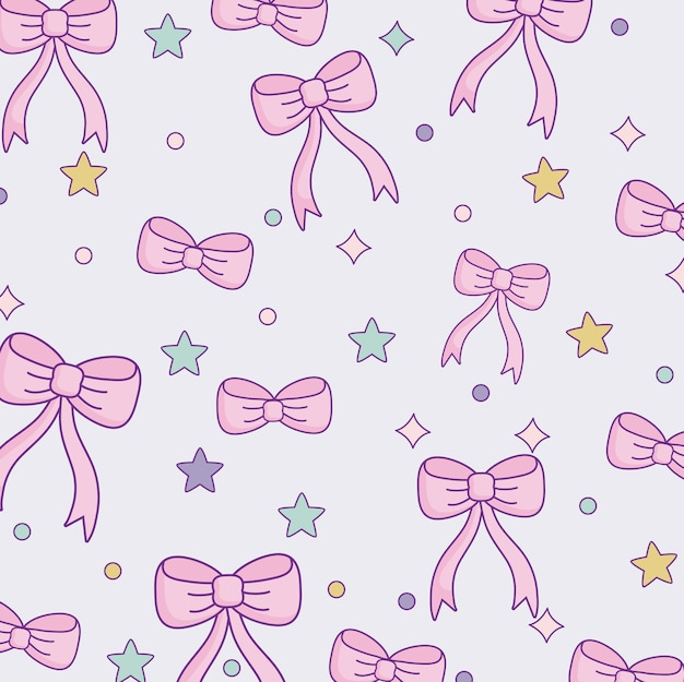 Cute bow ties and stars pattern