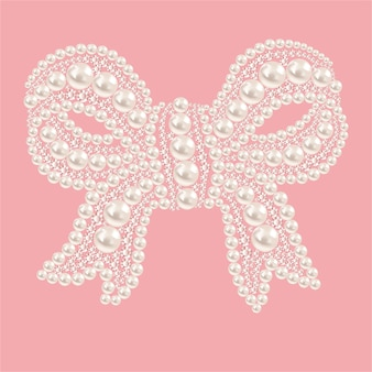 Cute bow with pearls and diamonds