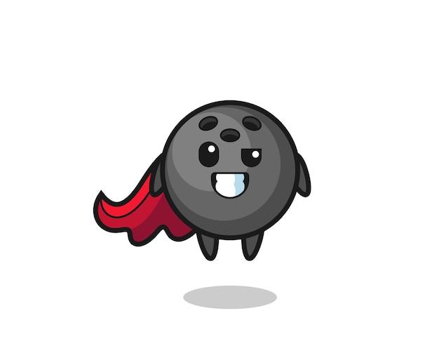 飛んでいるスーパーヒーローとしてのかわいいボウリング球のキャラクター