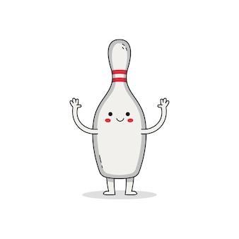 Милый мультипликационный персонаж кеглей для боулинга