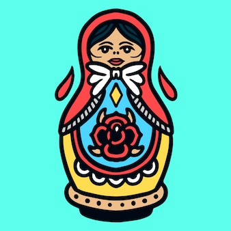Cute bowling pin doll old school tattoo vector