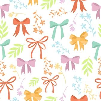 かわいい弓と植物のパターン
