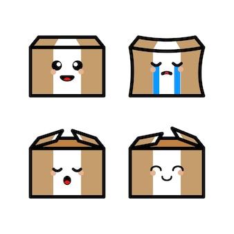 Cute box cartoon set
