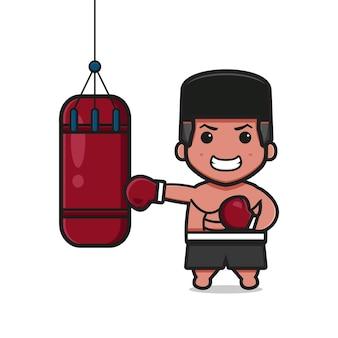 かわいいボクサーはサンドバッグ漫画アイコンイラストをパンチしています。孤立したフラット漫画スタイルをデザインする