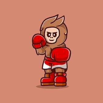 Cute boxing bigfoot illustration