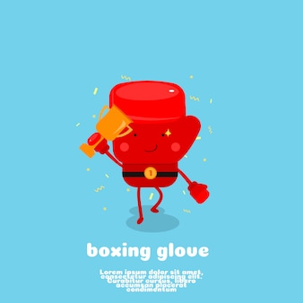 Cute boxing glove cartoon champion concept.