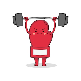 Cute boxing glove cartoon character weight lifitng