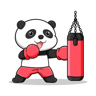 Cute boxing panda design with punching bag