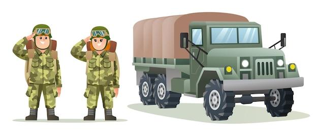 군용 트럭 만화 삽화로 배낭 캐릭터를 들고 있는 귀여운 소년과 소녀 군대 병사