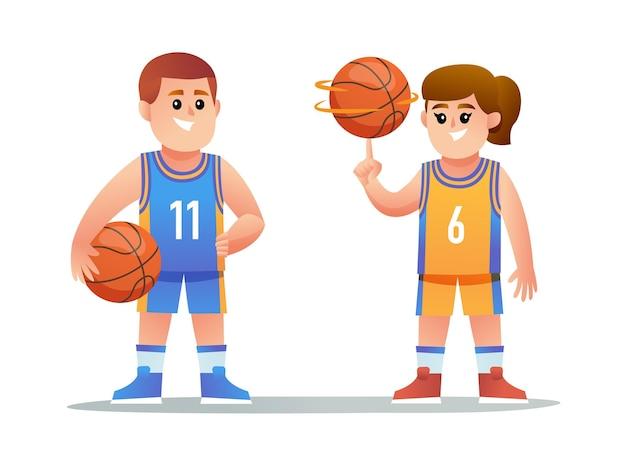 귀여운 소년과 소녀 농구 선수 캐릭터 세트