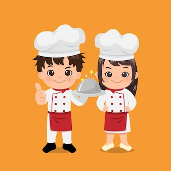 자신감이 표정으로 서 귀여운 소년과 소녀 요리사. 아시아 모자 전문 요리사 의상을 입고. 평면 디자인 .