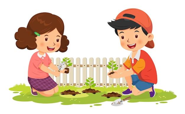 귀여운 소년과 소녀 행복 나무 심기