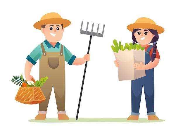 유기농 야채 그림을 들고 귀여운 소년과 소녀 수확 농부