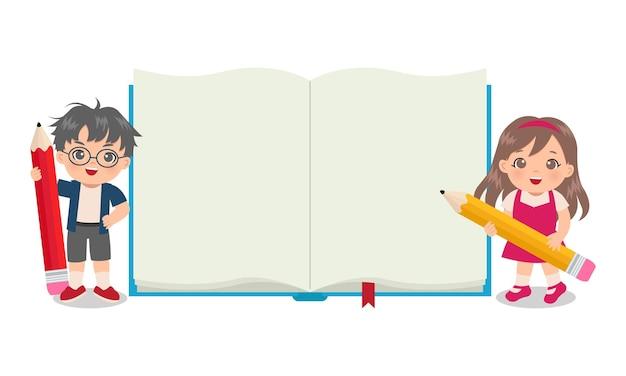 귀여운 소년과 소녀 빈 책 템플릿으로 큰 연필을 들고
