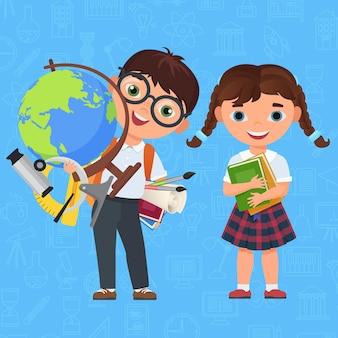 귀여운 소년과 소녀 아이, 다시 학교 개념 표지 디자인