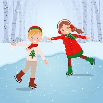 눈 덮인 풍경에 귀여운 소년과 소녀 아이. 아이스 스케이팅. 겨울 야외 활동.