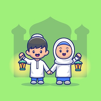 Симпатичные мальчик и девочка мусульманские иллюстрации. рамадан талисман мультипликационный персонаж. человек . плоский мультяшный стиль