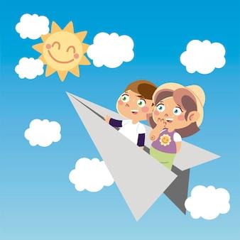 Милый мальчик и девочка на бумажном самолетике мультфильм, детская иллюстрация