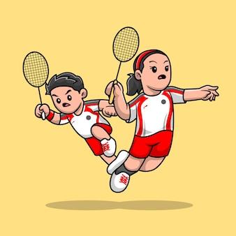 バドミントン漫画ベクトルアイコンイラストを再生するかわいい男の子と女の子。スポーツの人々のアイコンの概念は、プレミアムベクトルを分離しました。フラット漫画スタイル