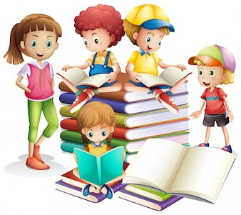 Cute boy and girl reading books
