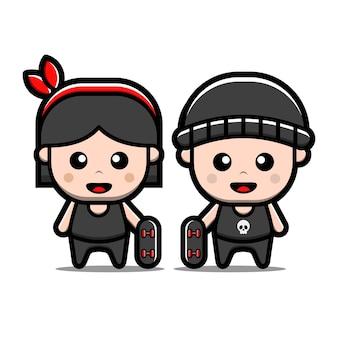 귀여운 소년과 소녀 스케이트 보드 만화 캐릭터