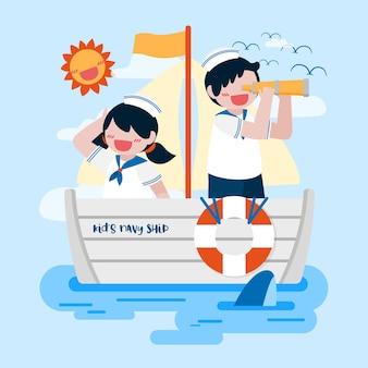 Симпатичный мальчик и девочка в матросской форме на военном корабле в море, мальчик использует бинокль, чтобы смотреть далеко,