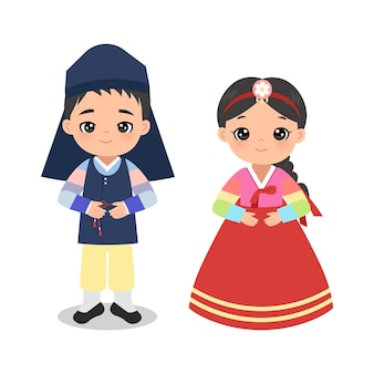 Милый мальчик и девочка в традиционном корейском костюме
