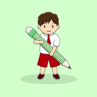 Cute boy back to school bring pencil