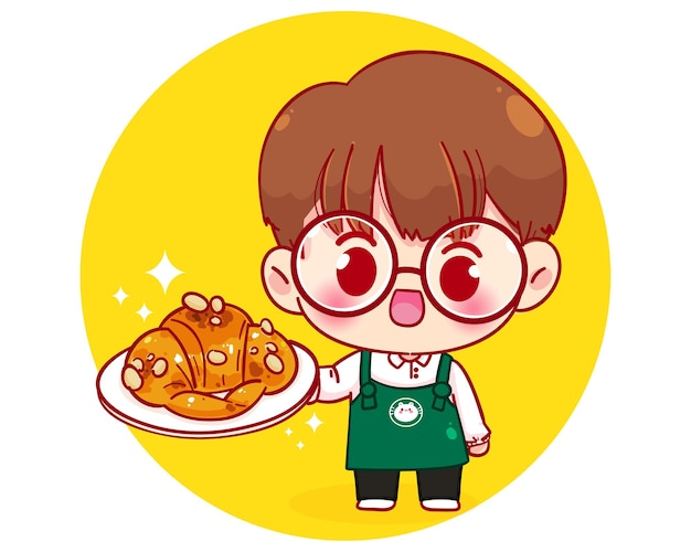 Cute boy barista in apron holding plate croissant cartoon character illustration