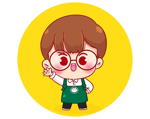 Cute boy barista character in apron cartoon character illustration