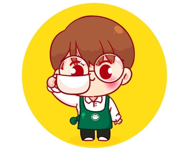 커피 컵 만화 캐릭터 일러스트를 들고 앞치마에 귀여운 소년 바리 스타
