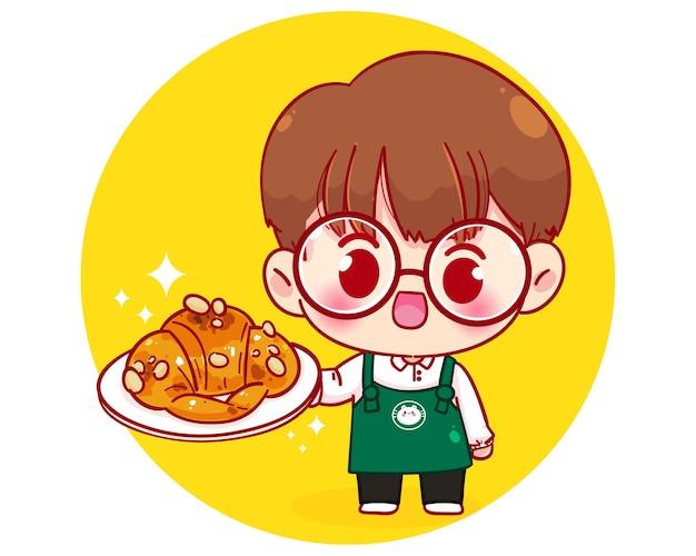 Милый мальчик-бариста в фартуке, держащий тарелку с круассаном, мультипликационный персонаж, иллюстрация